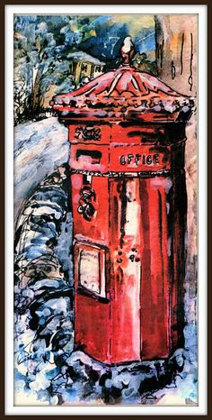 Post Box - By Magnus Park Letter Boxes, Mail Call, Mail Boxes, Police Box, Post Box, Letter Writing, British History, Watercolor And Ink, Fun To Be One