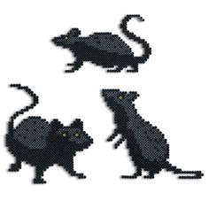 """Tuck these Perler rats among your pumpkins and decorations or place them on the steps for bone-chilling fun! The tallest is 7-3/4"""" high! Designed by Kyle McCoy."""