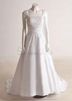 Stunning Satin A-line Cap Sleeves Wedding Dress