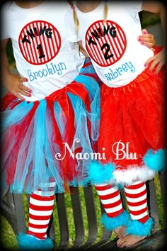 Dr Suess Thing1 and Thing 2 Tutu Great for Twins, Birthday, milestones and more... Size Newborn to Childrens 6. $22.00, via Etsy.