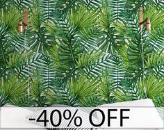Genial Palm Bladeren Verwisselbare Behang, Large Laves Muur Muurschildering, Groen  Muur Sticker, Tropische Behang