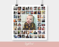 20x20 Custom Photo Collage, Square Print, Personalized Photo Collage, Personalised Gift, Anniversary Gifts, Baby Gift, 30x30, Digital File