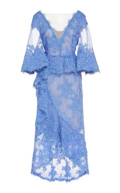 Marchesa Embroidered Lace Cocktail Dress In Blue Satin Midi Dress, Midi Dress With Sleeves, Silk Gown, Silk Satin, A Line Cocktail Dress, Embroidered Lace, Dress Outfits, Gowns, Clothes For Women