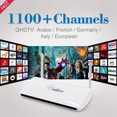 Smart Android TV Box met 1 Jaar Gratis IPTV Abonnement Qhdtv arabisch Frans Italië Europa Duitsland 1300 IPTV Kanalen