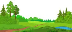 Meadow with Trees PNG Clipart Picture