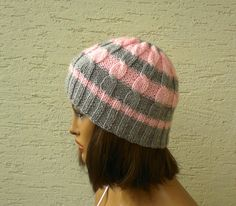 Knitted girls hat womens beret knit hat cable by KnitterPrincess, $24.00