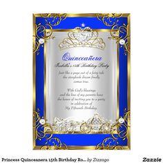 Princess Quinceanera 15th Birthday Royal Blue 2 5x7 Paper Invitation Card