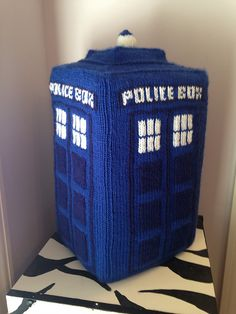 """Plush TARDIS with pattern. Slide some cardboard inside to keep its shape, or stick to stuffing for a cuddlier TARDIS. If you want to get really fancy, you can get a recordable sound chip http://www.amazon.com/dp/B000JG902O/?tag=buzz0f-20  to sew inside for that classic """"EERrwWwoooooSHHHhEERrwWwoooooSHHHh EERrwWwoooooSHHHh"""" sound when you squeeze it. http://www.entropyhouse.com/penwiper/who/knittardis.html"""