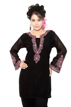 b7803d439eb Indian Selections Black long sleeves Kurti/Tunic with designer embroidery -  Medium Indian Selections http