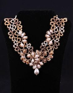 Tatted Lace Victorian jewelry Tatting Vintage style Pearl Necklace V-neckline Openwork by DASH Art Studio (WJ11-2) by Irina Ankushina