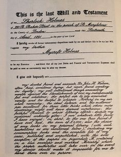 In case you have NO IDEA where this is from: In the London Mystery Magazine for June 1955, a document purporting to be the last will and testament of Mr. Sherlock Holmes was reproduced in facsimile, with a prefatory note, unsigned, ascribing the discovery of the paper to Mr. Nathan L. Bengis, Keep of the Crown of the Musgrave Ritualists of New York' (BG, 317).