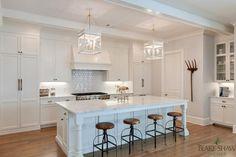 White kitchen with dark wood floors... Love this!