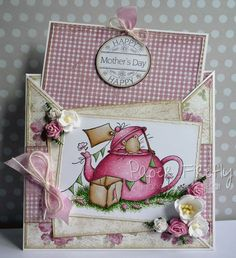 Pink floral criss cross card featuring cute mouse in teapot Merci Gif, Handmade Card Making, Cute Mouse, Beautiful Handmade Cards, Animal Cards, Card Making Inspiration, Mother And Father, Pretty Cards, Folded Cards
