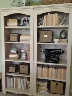 Home Made Modern: Restyled Bookcases Using Wrapping Paper and Decorating with Books Bookcase Styling, Built In Bookcase, Bookshelves, Large Bookcase, Modern Bookcase, Family Room, Home And Family, Antique Decor, Shelf Design