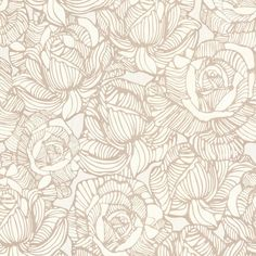 Calista Beige Modern Rose Wallpaper design by Brewster Home Fashions