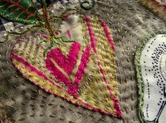 by Jude Hill. I just started her online class, Whispering Hearts, today. Textile Fiber Art, Textile Artists, Embroidery Applique, Embroidery Stitches, Fabric Hearts, Textiles, Thread Art, Running Stitch, Hand Stitching