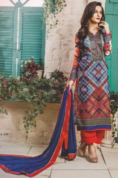 stylish funcional wear pasmina digital print brown blue dress