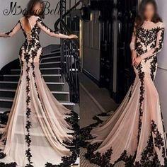 b1719f31c822 Fancy Evening Dresses Long Sleeve 2016 High Quality Black Lace Formal  Dresses