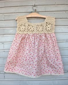 """1 [ """"Inspiration for yokes for summer nighties. """"Ravelry: Project Gallery for Floral Motif Yoke Top pattern by Linda Permann"""""""", """"EXACTLY what I Knitting For Kids, Crochet For Kids, Baby Knitting, Crochet Yoke, Crochet Fabric, Baby Girl Crochet, Crochet Baby Clothes, Little Girl Dresses, Baby Dresses"""