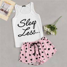 SHEIN Letter Print Tank Top And Allover Heart Print Shorts PJ Set Women Summer Drawstring Waist Shorts Sleeveless Tank Nightwear