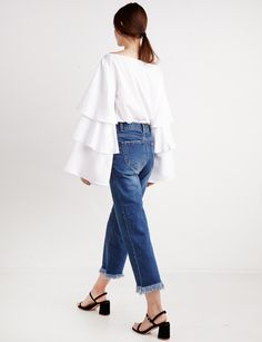 bell sleeve top #fashion #pixiemarket New Fashion, High Fashion, Milan Fashion, Denim Blouse, Denim Pants, New Dress, Dress Up, Tiered Tops, Trendy Tops For Women