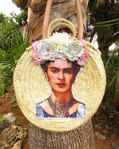 Please note that processing and delivery of this basket is currently 1 week!!! Frida Kahlo straw market/beach bag. I had sooo much fun creating this bag... And the result is stunning. If you want a totally different and quirky market bag look no further, this is it! Large enough