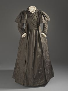 Liberty & Co. (England, London, born 1875)   Woman's Tea Gown, circa 1887  Costume/clothing principle attire/entire body, Silk twill with supplementary weft-float patterning,