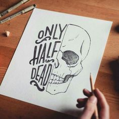 Without text half skulls are cool as fuck. Type by Doodle Drawings, Art Drawings Sketches, Easy Drawings, Doodle Art, Pencil Drawings, Gothic Drawings, Funny Sketches, Skull Drawings, Cool Sketches