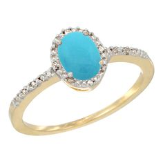 14K Yellow Gold Diamond Natural Turquoise Engagement Ring Oval 7x5 mm, size 10
