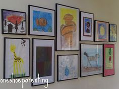 Sweet kids art gallery.  Idea for wall in reading nook