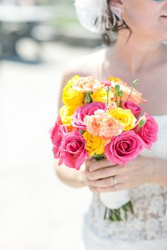 Pink orange yellow wedding flowers