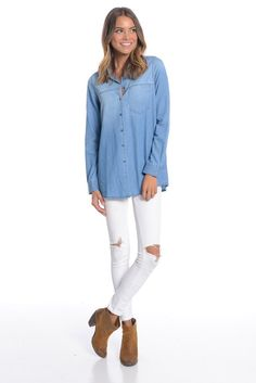 Canny Chambray Top
