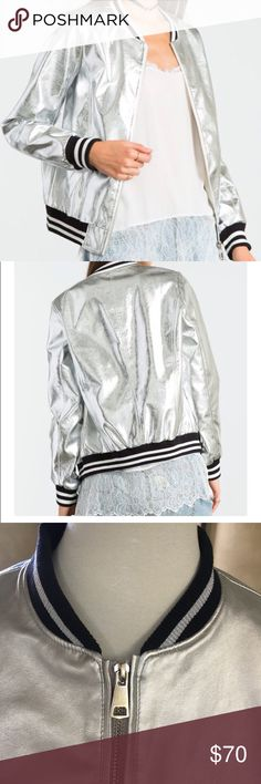 Spring 2018 Metallic silver leather bomber jacket Spring 2018 Metallic silver leather bomber jacket, fully lined , AAA quality Jackets & Coats Blazers