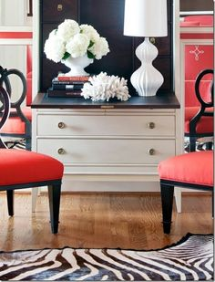 Navy and Coral Bedroom Design <3 the navy interior of the secretary.