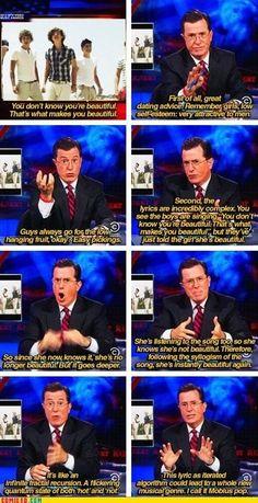 """Stephen Colbert describing One Direction's infamous pop song.  He calls it """"Mobius Pop"""".  I call it """"Schrodinger's Pop"""" haha"""