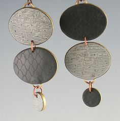 Oval 2 Dots Grays: Louise Fischer Cozzi: Polymer Clay Earrings - Artful Home