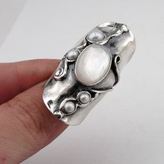 Great Handcrafted Sterling Silver Pearl Ring size 8.5  (h 174) by hadarjewelry on Etsy https://www.etsy.com/listing/86151973/great-handcrafted-sterling-silver-pearl