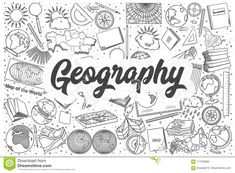 Illustration about Hand drawn geography doodle set. Illustration of country, magnifier, drawn - 117458964 Geography Map, World Geography, Doodle Icon, Doodle Art, School Binder Covers, European Map, 6th Grade Social Studies, Cute Doodles, Notebook Covers