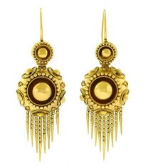 Preowned Antique Gold Chandelier Earrings (17.880 BRL) ❤ liked on Polyvore featuring jewelry, earrings, chandelier earrings, multiple, vintage style jewellery, antique jewellery, preowned jewelry, long fringe earrings and antique gold jewellery