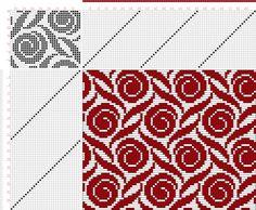 Weaving Draft Figure Atlas de 4000 Armures, Louis Serrure, France, Uncertain Date, Knitting Charts, Knitting Stitches, Knitting Designs, Knitting Patterns, Weaving Designs, Weaving Patterns, Crochet Chart, Filet Crochet, Cross Stitch Designs