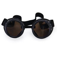 Cozyswan Vintage Rustic Cyber Goggles Steampunk Welding Goth Cosplay Photos (Black)