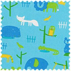 Manufacturer: Daiwabo (DT11908S-B)   Designer: Daiwabo House Designer   Collection: Tip Top Canvas   Print Name: Woodland Friends in Blue              Weight: Home Decor   Material: Cotton Canvas   Width: 44/45 inches   $7.60/yd
