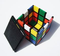 Perler Beads- Rubiks Cube little box!   Want to make this!