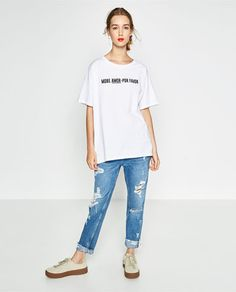 Image 1 of OVERSIZED TEXT T-SHIRT from Zara