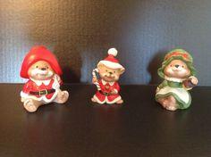 3 Piece Vintage Homeco Christmas Bear Family Holiday Decoration Ceramic