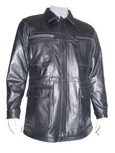 Cwmalls Men&39s Shearling Leather Jacket Coat Black (X-Large