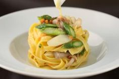 Chef Scott Conant's vegetarian and gluten-free menu at Scarpetta changes seasonally and includes inspired items like Tagliatelle with  spring vegetables & truffle zabaglione.