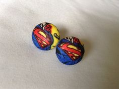 Superman Button Earrings by BeckyABoutique on Etsy
