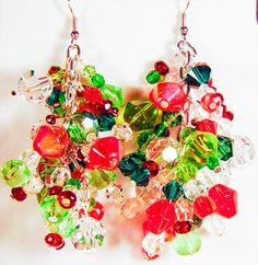 CHRISTMAS CRYSTAL EARRINGS, crystal earrings, crystal jewelry, Christmas earrings, Christmas jewelry, red crystals, green crystals - 1612C by EarringsBraceletsEtc on Etsy