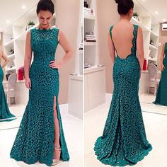 Lace & Polyester Long Evening Dress